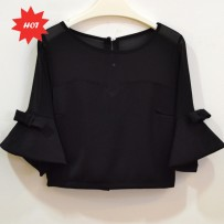 3/4 Bell sleeve Cropped Top   3/4袖七分上衣
