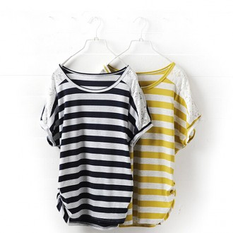Desfry Lace Spliced Cotton T-Shirt