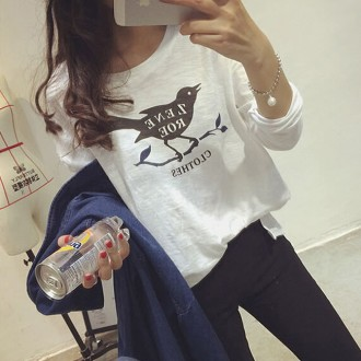 Desfry Loose Character Bird Print T Shirt