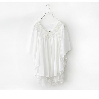 Reserved Lace collar Spliced Chiffon blouse