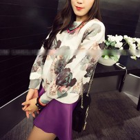 Reserved Leisure Flower Print Loose sweat