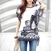 Twisted Flower Print Loose Blouse