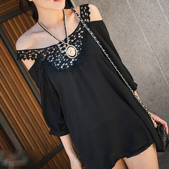 Sancarlos Crochet Lace Collar Drop Shoulder Loose Blouse