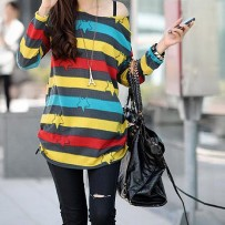 Color Stripe Print Long T Shirt